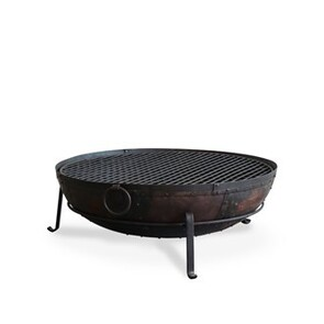 IRON FIRE BOWL WITH GRILL 100CM