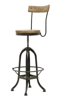 IRON & ELM SWIVEL BAR STOOL WITH BACK REST