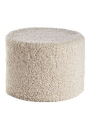 NEW ZEALAND SHORT CURLY WOOL ROUND POUF - Pearl