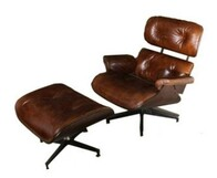 LEATHER CHAIR AND FOOT STOOL