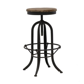 RUSTIC IRON AND ELM BAR STOOL