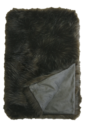 Enrique Faux Fur Throw - Dark Olive