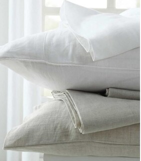 LAUNDERED LINEN SHEET SET - WHITE