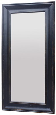LARGE SOLID OAK MIRROR - BLACK