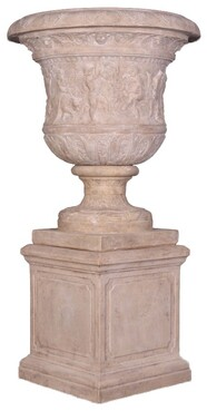 LARGE ROMAN STONE URN ON BASE