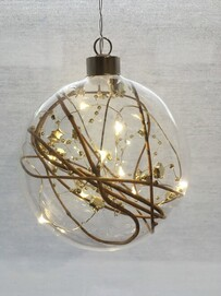 STELLAR HAUS FESTIVE SPHERE HANGING GLASS LIGHT