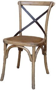 OAK AND RATTAN DINING CHAIR - METAL CROSSBACK