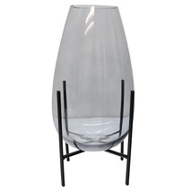 GLASS VASE ON STAND - SMOKE