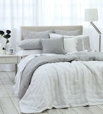 MM LINEN LAUNDERED LINEN BEDSPREAD WHITE