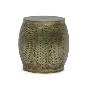 SURAT DRUM BRASS SIDE TABLE - LARGE