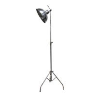 BRUSHED PEWTER STYLE TRIPOD FLOOR LAMP WITH BOILER SHADE