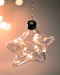 STELLAR HAUS CLEAR STAR HANGING GLASS LIGHT