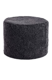 NEW ZEALAND SHORT CURLY WOOL ROUND POUF - Anthracite