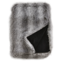 LUXURY FAUX FUR THROW - GREY WOLF