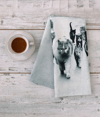 TEA TOWEL- CAT MOB