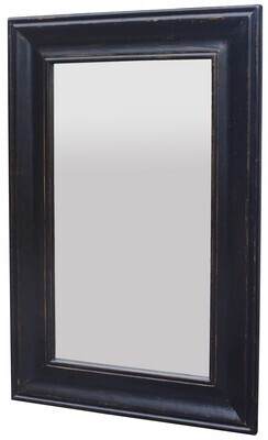 SMALL SOLID OAK MIRROR - BLACK