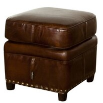 VINTAGE CIGAR LEATHER FOOT STOOL