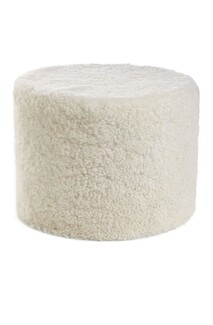 NEW ZEALAND SHORT CURLY WOOL ROUND POUF - Ivory