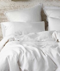 MM LINEN LAUNDERED LINEN DUVET SET WHITE