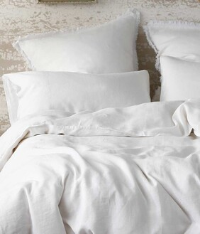 LAUNDERED LINEN DUVET SET WHITE