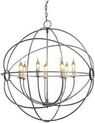 HALO GYRO CHANDELIER SHINY STEEL - MEDIUM