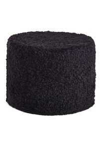 NEW ZEALAND SHORT CURLY WOOL ROUND POUF - Black