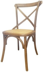 OAK AND RATTAN DINING CHAIR - WOODEN CROSSBACK