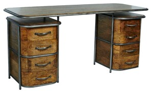 HOLMFIRTH FRENCH ART DECO DESK - RUSTIC