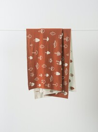 MUSHROOM COTTON KNIT COT BLANKET - CHESTNUT/NOUGAT
