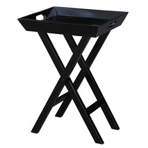 GLOSS BLACK FOLDING SIDE TABLE