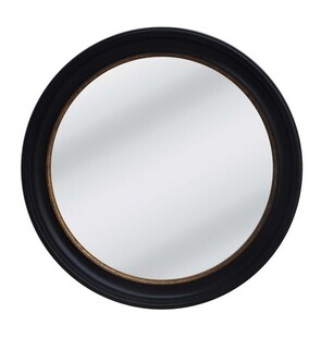 LARGE BLACK & GOLD ROUND FRAME MIRROR