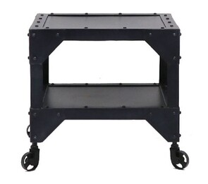 IRON SIDE TABLE - TWO SHELF