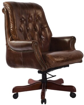 SELBY BANKERS ADJUSTABLE CHAIR - VINTAGE CIGAR BROWN
