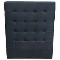BUTTONED BLACK LINEN KING SINGLE HEAD BOARD